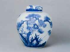 China Blue-and-White Porcelain Covered-jar with design of pine,bamboo and plum