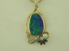 Diamond Opal Sapphire Pendant, jewelry