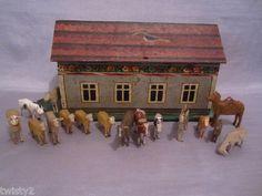 antique noah's ark | Antique NOAH'S ARK w 17 Wood Carved Animals SHEEP COW CAMEL Erzgebirge ...