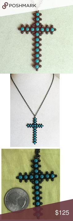 "VTG Sterling Snake Eye Southwestern Cross Necklace This one is absolutely beautiful! The design and styling are gorgeous! All the styling and detail found in Navajo vintage crosses, but this one is by Bell Trading Co.  The pendant is sterling silver and snake eye turquoise and is 2-3/8"" tall and the sterling necklace at 18"" - Perfectly even but dark patina (maybe how it was originally designed???) gives this piece such charm! - Overall excellent pre-owned vintage condition Bell Trading Co…"