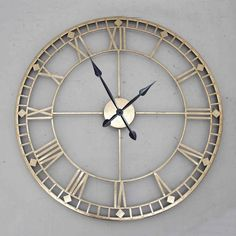 Round Wall Clock Antique Gold from PAGAZZI - Sleek Round Wall Clock Finished in Antique Gold - Intricate Hollow Design - Next Day Delivery Available Large Metal Wall Clock, Gold Wall Clock, Best Wall Clocks, Wall Clock Design, Wall Clock Glass, Gold Wall Decor, Large Clock, Kitchen Wall Clocks, Farmhouse Wall Clocks