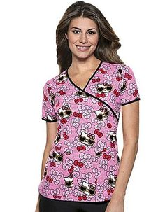 """Be pretty in this fashion scrub top from Cherokee Medical Uniforms. This is printed with """"Hello Kitty Summer Fun"""" design, and created in mock wrap style. It comes with front neck binding, release tucks at the waist, and back elastic for a flattering feminine fit."""