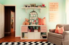 Fell quickly in love with this room for the little people. Has the perfect touch of pink for the modern baby girl. 6th Street Design School.