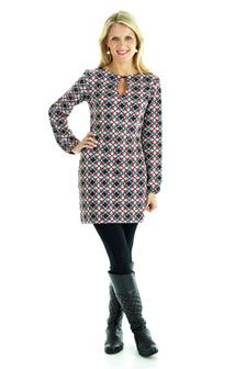 Callie Long-Sleeve Dress (Wild Card Print): $138.00   What's not to love about this long-sleeve jersey dress?  This simple, yet stylish, silhouette is a 'must-have' for all figures.  The added key-hole detail at chest adds a little extra character to the Callie shift style.    #tracynegoshian #CallieDress #Fall #NewArrivals #Shop  www.tracynegoshian.com