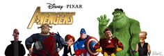 Cartoon Brew reader J. M. Walter imagined Pixar characters in the role of The Avengers and shared this image on its Facebook page.