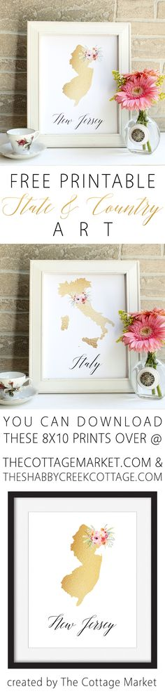 Free Printable State Art - The Cottage Market