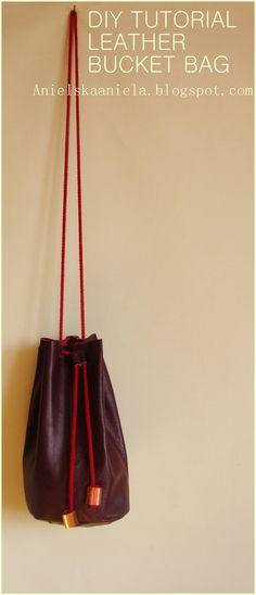DIY TUTORIAL Leather bucket bag skórzana torba worek diy