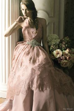 Bridal Pink - pink wedding dress; halter neck; pink scalloped lace skirt overlay