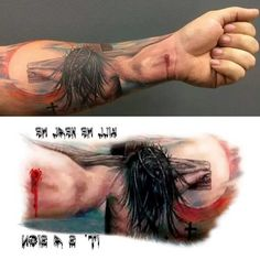 Body Art Temporary Removable Tattoo Stickers Jesus Perspective Sticker Tattoo - FashionDancing ** Details can be found by clicking on the image. (This is an affiliate link) God Tattoos, Tattoos For Guys, Faith Tattoos, Flower Tattoo Arm, Arm Tattoo, Large Tattoos, Unique Tattoos, Jesus Tattoo Design, Jesus 3d Tattoo
