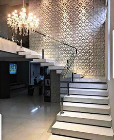 dream home amazing modern stairs for entryway or foyer House Staircase, Interior Staircase, Home Stairs Design, Home Room Design, Dream Home Design, Modern House Design, Home Interior Design, Interior Ideas, Dream House Interior