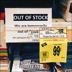 """Normally I might bemoan this Out-of-Stock Tag's message being cut off by the Built-in Promo Tag Strip of this Shelf Edge Label System. But the fact that the reverse-slug """"OUT OF STOCK"""" stood above . Slug, Shelf, Retail, Label, Facts, Messages, Shelving, Shelving Units"""