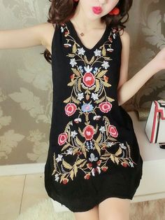 Exquisite Embroidery Sleeveless Dress_Tank & Sleeveless_DRESSES_Wholesale clothing, Wholesale Clothes Online From China Sleeveless Dresses, Tank Dress, Wholesale Clothing, China, Embroidery, Clothes, Fashion, Outfits, Moda