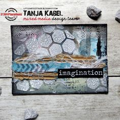 Imagination ATC - https://littleartcottage.blogspot.de/2017/10/imagination-atc.html #stamplorations #artplorations #cutplorations #danielsmith #schminckehoradam #watercolors #atc #bookpaper #stabiloall #stencil #archivalink #distresspaint #cracklepaste #corrugatedcardboard #cheesecloth #ribbon #timholtz #sticker #handmade #mixedmedia #stamps #stamping