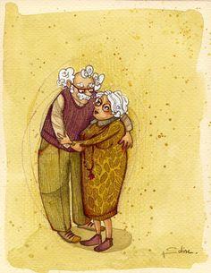 Dibuix d'Anne-Soline Sintes. Representa per a mi els meus avis a qui vaig estimar molt