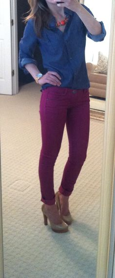 I am really loving the colored jeans...
