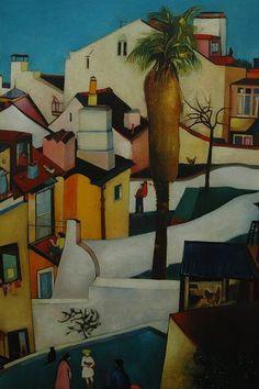 """Portuguese Nikias Skapinakis:  """"Patios from Lisbon"""" / Quintais de Lisboa, 1956  Série """"Lirismo expressionista""""  Óleo sobre tela, 100 x 73 cm  Colecção Particular"""