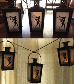 Fairy Lanterns-dollar tree lanterns with sticker cutout on inside. Tree Lanterns, Fairy Lanterns, Mason Jar Lanterns, Christmas Lanterns, Mason Jars, Fairy Crafts, Xmas Crafts, Diy And Crafts, Fairy Jars