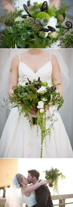 Amazing green local Northwest wedding flowers created by Flora Nova Design. Photos by Daniel Usenko