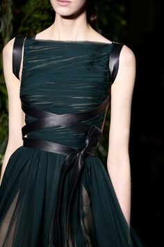 Deep forest green Grecian style dress with warrior crisscross black leather belt details Valentino Fall Winter 2014 #Couture Paris Fashion #HauteCouture