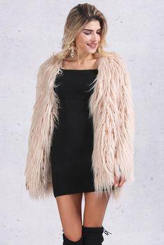Women's Elegant Warm Long Sleeved #Faux #Fur Coat