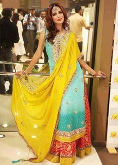 Pakistani mehndi dresses 2014 Pinned by Zartashia | Modern mehndi