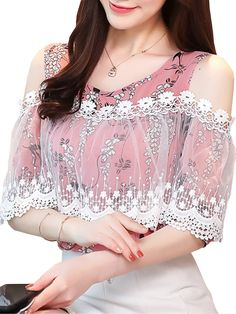 Buy Women's Blouse O Neck Floral Lace Hollow Shoulder Top & Blouses - at Jolly Chic Simple Blouse Designs, Dress Neck Designs, Fashion Drawing Dresses, Skirt Fashion, Unique Dresses, Stylish Dresses, Moda Indiana, Stylish Tops, Party Wear Dresses
