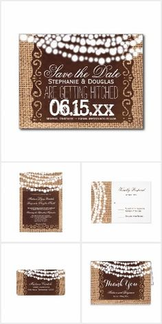 Rustic Lights Burlap Wedding Invitation Set. This rustic country wedding set / stationary / suite may include: Wedding invitation cards, wedding envelopes, wedding RSVP Cards, wedding address labels, save the dates, wedding programs, wedding thank you cards, rehearsal dinners, stamps and more matching wedding products. Click image to see all available matching items.