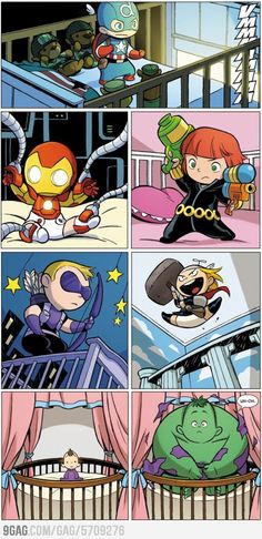 Baby Avengers... too much cuteness! Love the Hulk! :)