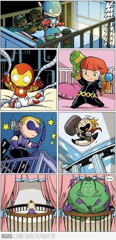 Baby Avengers... too much cuteness! Love the Hulk! :)
