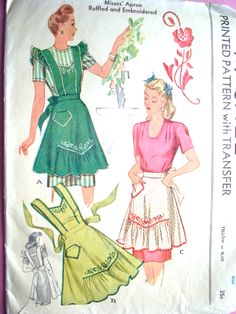 This Mccall's vintage apron pattern offers instructions for a half-apron and full apron. This might be a pattern the women in the sewing circle use for their aprons. Half Apron Patterns, Vintage Apron Pattern, Mccalls Patterns, Vintage Sewing Patterns, Pattern Sewing, Embroidered Apron, Patron Vintage, Cute Aprons, Techniques Couture