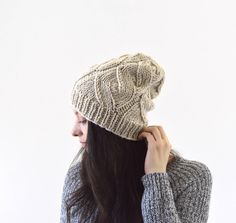Knit Slouchy Men Woman Hat Beanie Toque   The Grace by Avaneska on Etsy