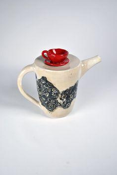 Ceramic Pottery Teapot Red Cup Teapot di KrisCravensPottery
