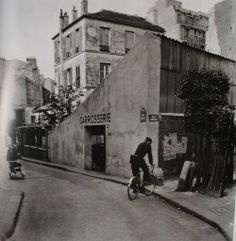 Willy Ronis, Corner of rue des Lilas and rue Janssen, Paris, 1950 Willy Ronis, Classic Photography, Street Photography, Montmartre Paris, Old Paris, Belle Villa, French Photographers, Magnum Photos, Museum Of Modern Art