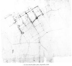 Fallingwater, First Sketch Of Floor Plans, September 1935