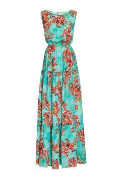 Jedwabna suknia maxi z motywem kwiatowym