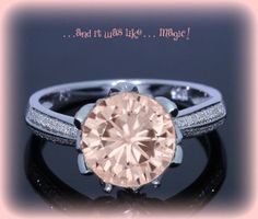 Vintage Engagement Ring 1.5ct Round Peach Pink by ItWasLikeMagic, $1490.00