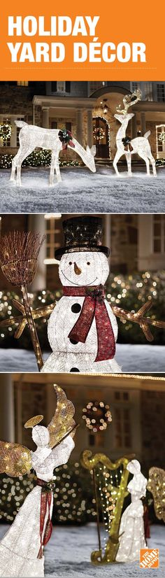 Bring the cheerful mood of the holiday season to your yard with outdoor decorations. Find LED lighted characters, Christmas trees, angels and nativities that will make your home shine. Click through to see more of these festive decorations at The Home Depot!