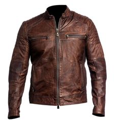 Mens Biker Vintage Motorcycle Distressed Brown Cafe Racer Leather Jacket  | Clothing, Shoes & Accessories, Men's Clothing, Coats & Jackets | eBay!