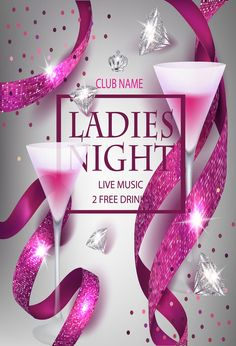 Ladies night party invitation pink card with sparkling ribbons, glasses of cocktail and diamonds. Ladies Night Party, Cool Backdrops, Pink Cards, Pink Invitations, Hens Night, Royalty Free Photos, Thank You Cards, Card Stock, Create Yourself