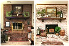white wash brick fireplace Brick Fireplace Makeover Before and After Mortar Wash Fireplace Remodel, Remodel, Living Room Remodel, Brick Fireplace Makeover, Farmhouse Fireplace, Fireplace Mantels, Red Brick Fireplaces, Painted Brick, Fireplace