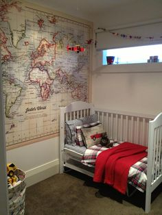 [Student Interior of the Week] One of the students from The Interior Design Institute Bernadette Quick designed this fun and creative room for her little boy! We love the theme and especially the world map decal! Interior Design Institute, Interior Design Courses, World Map Decal, Baby Love, Wall Decals, Toddler Bed, Kids Room, Sweet Home, New Homes