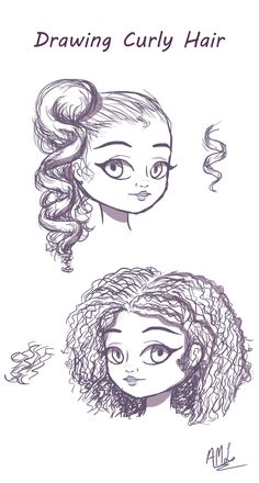 How To Draw Curly Hair: Here is a quick tutorial on drawing Curly Hair. Btw, for more info and explanations, visit the link to my video on drawing hair! :3 #drawinghair