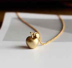 Snow White Golden Apple Necklace 3D Apple Necklace by BLACKKOLLABO