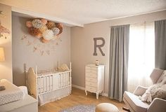 Gray cream and peach make an interesting neutral color scheme for a baby's nursery http://www.unique-baby-gear-ideas.com/a-peachy-gray-and-peach-baby-nursery-for-rylee.html