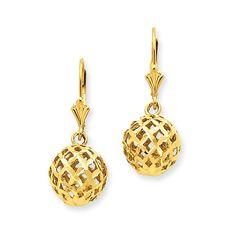14k Polished & Diamond-Cut Mesh Ball Dangle Leverback Earrings Attributes Diamond-cut;Polished;3-D;14k Yellow gold;Leverback;Filigree Product Type:Jewelry Jewelry Type:Earrings Earring Type:Drop & Dan