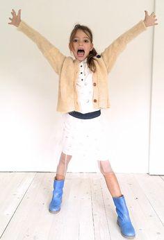 Anna Pops, hippe kinderschoenen en kledij - online kids webshop - Miss chips - rokken - Witte rok met tule en print