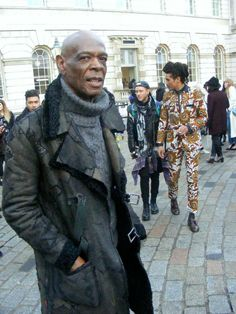 Earl Jordan, Blues singer, at the London Fashion Week in a NEWyesterday jacket - reworked persian lamb www.new-yesterday.com