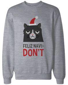 Funny Grumpy Cat Holiday Graphic Sweatshirts - Unisex Grey Pullover Sweater