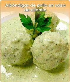 ALBONDIGAS DE POLLO EN SALSA DE CILANTRO | recetas ricas | Pinterest | Cilantro, Salsa and Chicken Meatballs
