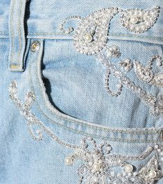 Shop Embellished jeans presented at one of the world's leading online stores for luxury fashion. Denim Fashion, Fashion Art, Luxury Fashion, Womens Fashion, Beaded Earrings Patterns, Blue Jean Jacket, Painted Clothes, Jeans Denim, Altering Clothes